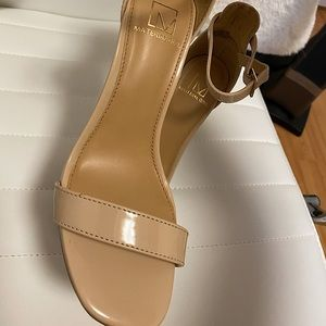 Material girl patent leather nude open toe heels